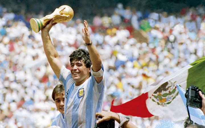 Maradona with world cup trophy