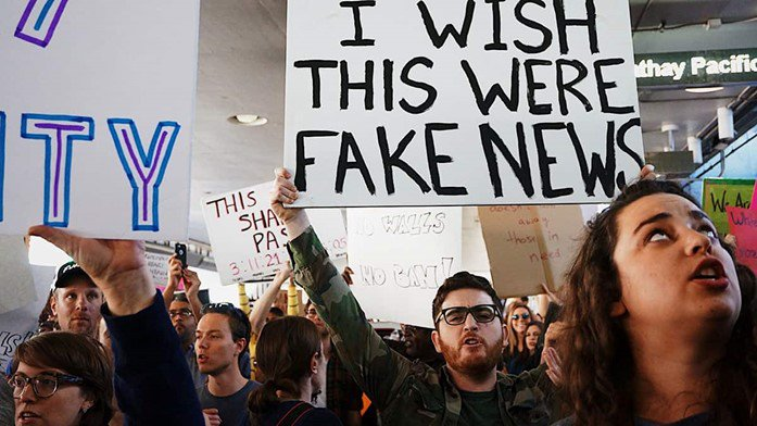 Protestors about fake news