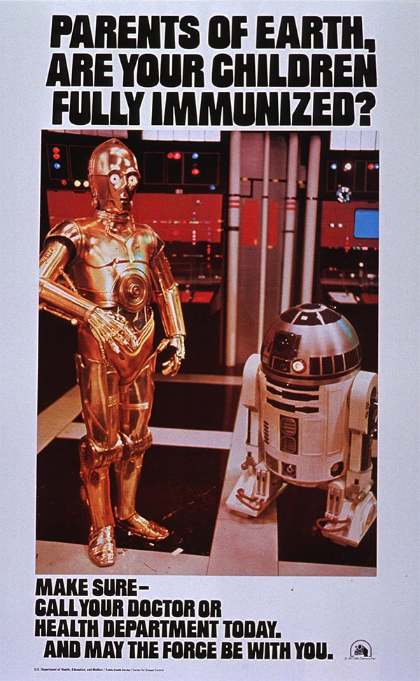 1970s pro immunisation poster featuring C3PO and R2D2