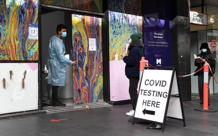 People queueing outside a testing centre in Melbourne